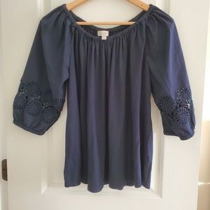 Loft Flutter Sleeve Blue Blouse